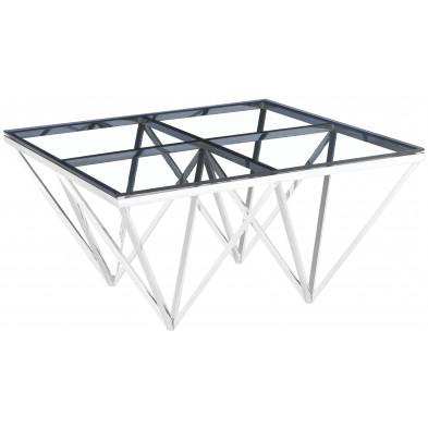 Table basse design carré en acier inoxydable poli argenté et plateau en verre trempé transparent L. 80 x P. 80 x H. 42 cm collection VERONA