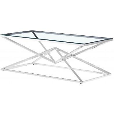 Table basse design en acier inoxydable poli argenté et plateau en verre trempé transparent L.120 x P. 60 x H. 45 cm collection PARMA