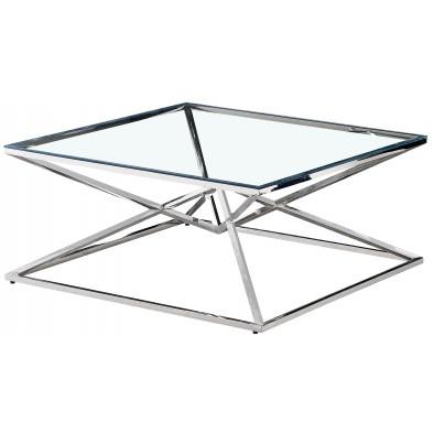 Table basse design carré en acier inoxydable poli argenté et plateau en verre trempé transparent L. 100 x P. 100 x H. 43 cm collection PARMA