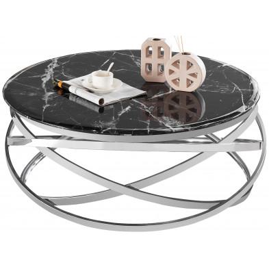 Table basse design rond avec piètement en acier inoxydable poli argenté et plateau en marbre artificiel noir L. 100 x H. 43 cm collection ENRICO