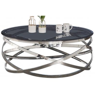 Table basse design rond avec piètement en acier inoxydable poli argenté et plateau en verre trempé anthracite L. 100 x H. 43 cm collection ENRICO