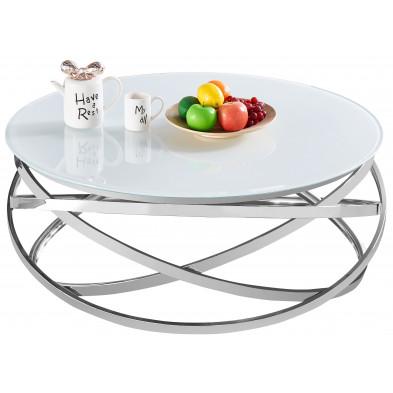 Table basse design rond avec piètement en acier inoxydable poli argenté et plateau en verre trempé blanc L. 100 x H. 43 cm collection ENRICO