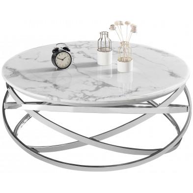 Table basse design rond avec piètement en acier inoxydable poli argenté et plateau en marbre artificiel blanc L. 100 x H. 43 cm collection ENRICO