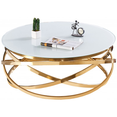 Table basse design rond avec piètement en acier inoxydable poli doré et plateau en verre trempé blanc L. 100 x H. 43 cm collection ENRICO