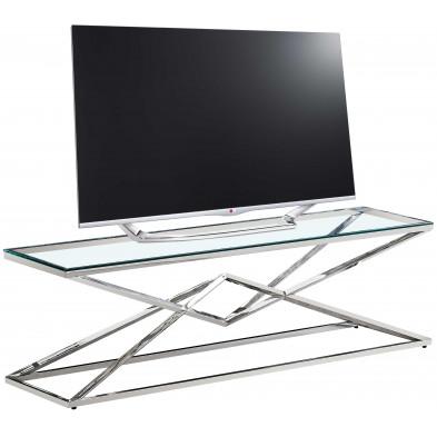 Meuble tv design en acier inoxydable poli argenté et verre trempé L. 150 x P. 40 x H. 45 cm collection PARMA