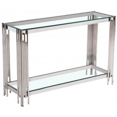 Console design en acier argenté avec plateau en verre transparent collection MILANO L. 120 x P. 40 x H. 78 cm