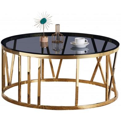 Table basse design plateau en miroir noir avec piètement en acier inoxydable poli collection DALILA L. 100 x P. 100 x H. 45 cm