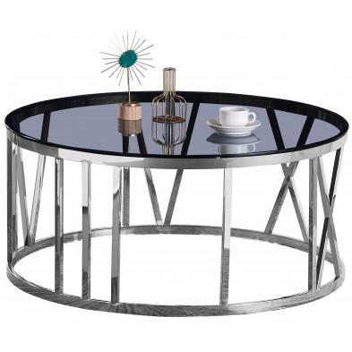 Table basse design plateau en miroir avec piètement en acier inoxydable poli collection DALILA L. 100 x P. 100 x H. 45 cm