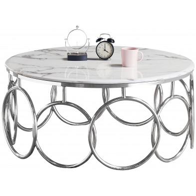 Table basse design en acier argenté avec plateau en marbre blanc L. 100 x P. 100 x H. 45 cm Collection BRUNO