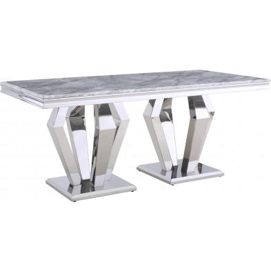 Table de salle à manger design plateau en marbre gris et piètement en acier inoxydable poli argenté Collection Valentino L. 200 x P. 100 x H. 76 cm