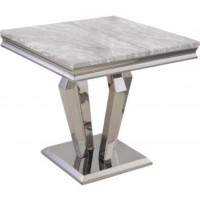 Table d'appoint design plateau en marbre gris et piètement en acier inoxydable poli argenté Collection Valentino L. 60 x P. 60 x H. 56 cm