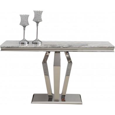 Console design plateau en marbre gris et piètement en acier inoxydable poli argenté Collection Valentino L. 140 x P. 40 x H. 76 cm