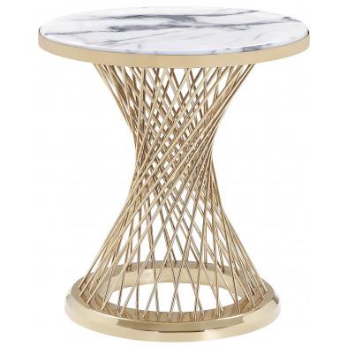 Table d'appoint rond plateau en marbre gris et piètement en acier inoxydable poli doré Collection MARCELO L. 47 x P. 47 x H. 60 cm