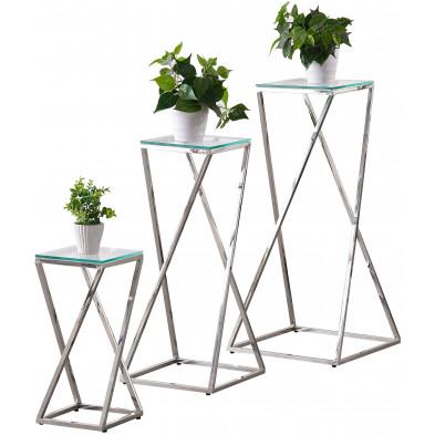 Ensemble de 3 tables d'appoints design en acier inoxydable argenté avec plateau en verre trempé transparent Collection Pisa L. 45-35-24 x P. 45-35-24 x H. 94-79-51 cm