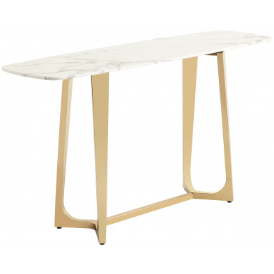 Console design avec un plateau en marbre artificiel blanc et un piètement en acier inoxydable poli doré Collection Veneta L. 150 x P. 45 x H. 80 cm