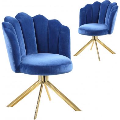 Lot de 2 chaises  de salle à manger design pivotante revêtement en velours  bleu avec piètement en acier doré L. 47 x P. 47 x H. 82 cm collection MARIO