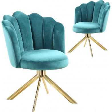 Lot de 2 chaises  de salle à manger design pivotante revêtement en velours  vert avec piètement en acier inoxydable poli doré L. 47 x P. 47 x H. 82 cm collection MARIO