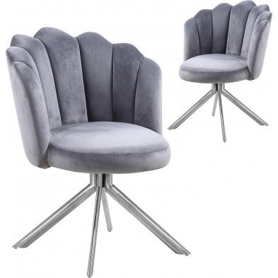 Lot de 2 chaises  de salle à manger design pivotante revêtement en velours  gris et avec piètement en acier inoxydable poli argenté L. 47 x P. 47 x H. 82 cm collection MARIO