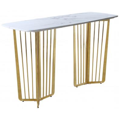 Console design avec plateau en marbre  blanc et piètement en acier doré L. 140 x P. 55 x H. 85 cm collection FASTRO
