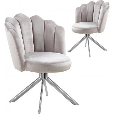 Lot de 2 chaises  de salle à manger design pivotante revêtement en velours  marron clair et avec piètement en acier inoxydable poli argenté L. 47 x P. 47 x H. 82 cm collection MARIO