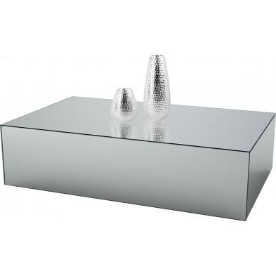 Table basse design bloc rectangle en miroir clair L. 130 x P. 70 x H. 45 cm collection PALO