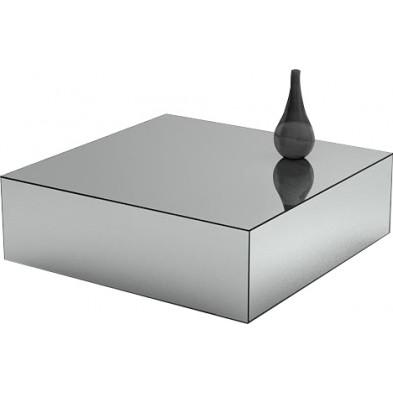 Table basse design bloc carré en miroir clair L. 100 x P. 100 x H. 45 cm collection PALO