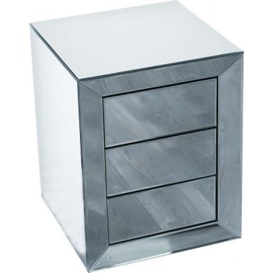 Table de chevet ultra design en miroir avec 3 tiroirs push open L. 45 x P. 45 x H. 58 cm collection LENNA