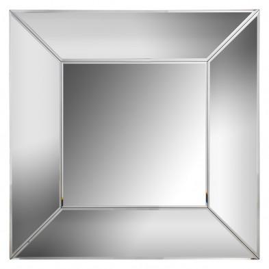 Miroir mural ultra design carré avec contour biseauté effet 3D L. 40 x P. 40 x H. 4 cm collection SERRE