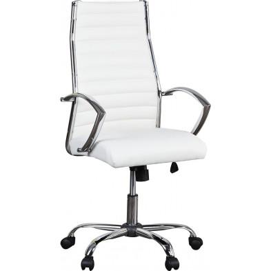 Chaise de bureau design en pvc coloris blanc et argent  L. 55 x H. 116 cm collection Vanhooft