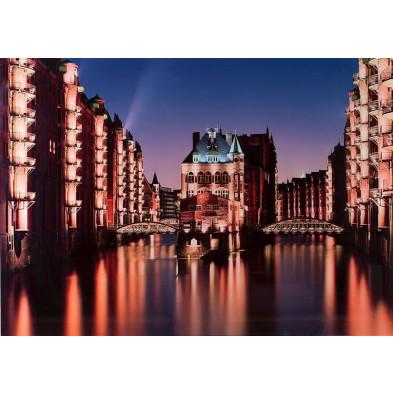 Tableau design magnifique vue ville hambourg L. 70 x H. 50 cm collection Najwa