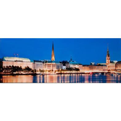 Tableau design magnifique vue ville hambourg L. 100 x H. 45 cm collection Peres
