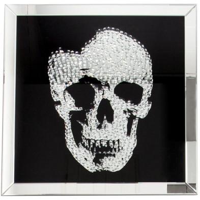 Tableau moderne en verre motif crâne garni de cristaux L. 60 x P. 5 x H. 60 cm collection Andora