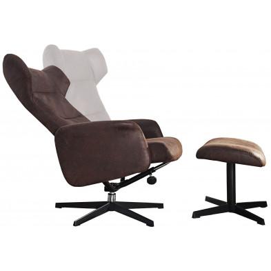 Fauteuil relax avec repose pieds moderne L. 105 x H. 90-100 cm en pvc coloris marron collection Duisburg