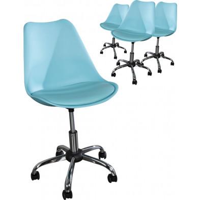 Lot de 4 chaises de bureau L. 48.5 x H. 87 -99 cm design en pvc coloris turquoise collection Smeets