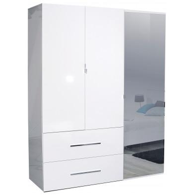 Armoire adulte blanc design en panneaux de particules de haute qualité L. 162 x P. 54 x H. 208 cm collection Gigliola