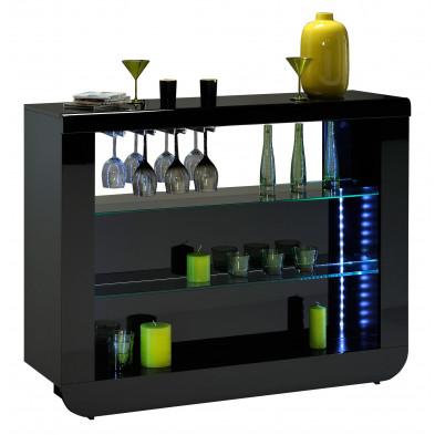 Table de bar noir design en acier chromé L. 125 x P. 38 x H. 100 cm collection Schimmel