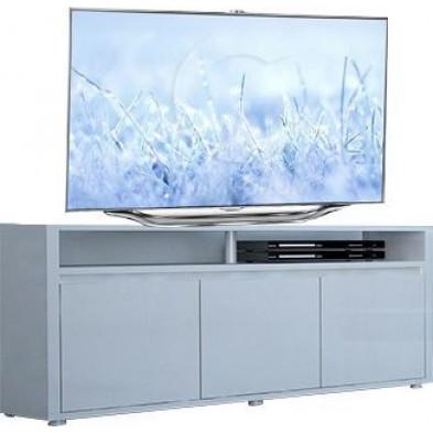 Meuble tv blanc design en panneaux de particules de haute qualité L. 150 x P. 45 x H. 65 cm collection Borsje