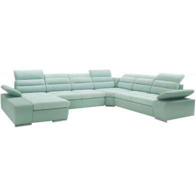 Canapés d'angle vert design tissu 6 places L. 360-287-183 x P. 95-110 x H. 86-100 cm collection Aljaraque