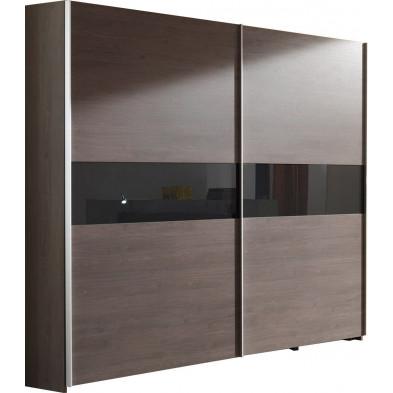 Armoire porte coulissante marron contemporain en panneaux de particules mélaminés de haute qualité   : L. 250 x P. 72 x H. 216 cm collection Verptin