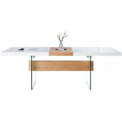 Table à manger extensible design en bois chêne et verre en coloris blanc laqué L. 160 - 200 x P. 85 x H. 76 cm collection Sanny