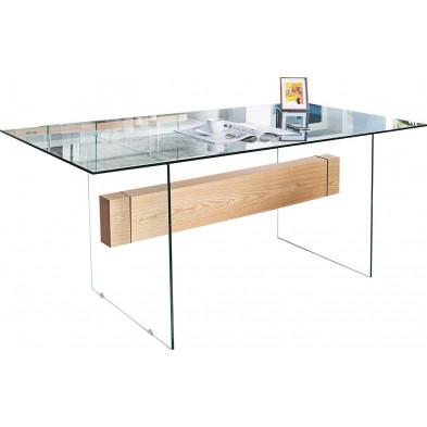 Table à manger design en bois chêne et verre en coloris transparent  L. 160 x P. 85 x H. 76 cm collection Sanny