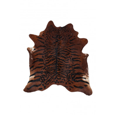 Tapis en cuir orange rustique tissé à la main en cuir véritable L. 220 x P. 155 x H. 0,5 cm collection Adalgisa