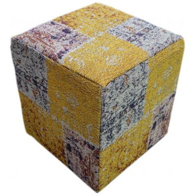 Pouf jaune vintage L. 45 x P. 45 x H. 45 cm avec des motifs ethniques collection Soeraya
