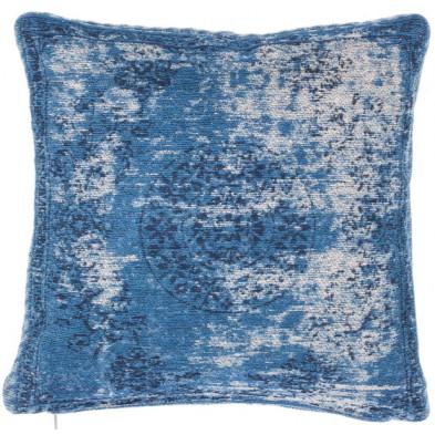 Coussin et oreiller bleu vintage tissé à la main en 50% coton et 50% polyester chenille L. 45 x P. 45 x  cm collection Hawnby