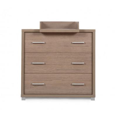 Commode à langer design coloris chêne en bois MDF et panneaux de particules de haute qualité  L. 101 x P. 57/77 x H. 95 cm Collection Inga