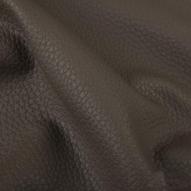Canapé d'angle convertible et réversible en pvc avec méridienne et coffre coloris brun foncé