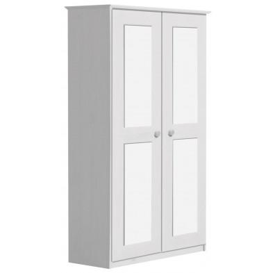 Armoire blanche contemporaine en bois massif   L. 86 x H. 196 cm collection Genoveffa