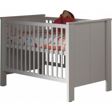 Lit bébé 70x140 cm blanc moderne en bois mdf collection Doppenberg