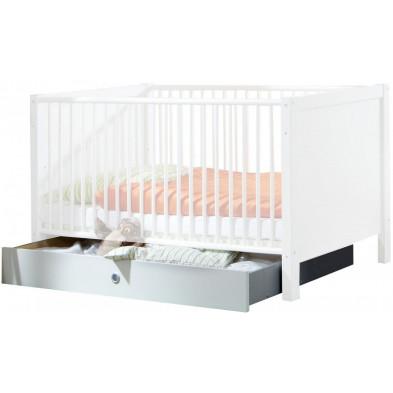 Lit bébé 70x140 cm blanc contemporain en panneaux de particules mélaminés de haute qualité collection Quickborn