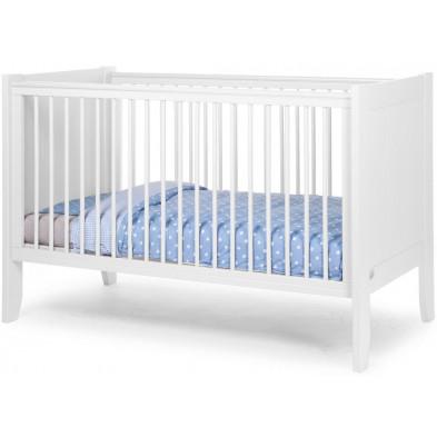 Lit bébé évolutif à barreaux moderne blanc en bois MDF et panneaux de particules de haute qualité 70x140 cm Collection Hattan